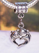 Pigs Heart Shaped Mother Baby Love Hug Dangle Charm for European Bead Bracelets