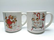 "2 Hallmark Norman Rockwell Coffee Mugs ""Caught Napping"" Christmas Cup Vtg1987"