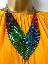 TOPSHOP BEAUTIFUL MULTI-COLOURED METAL CHAIN MAIL SCARF COLLAR NECKLACE NEW