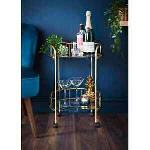 Deco Glamour Drinks Trolley With Glass Shelves Eye Catching Gold With Castor