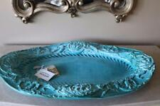 STYLNOVE CERAMICHE EMBOSSED FLORAL XXL CENTERPIECE TRAY TEAL/TURQUOISE-ITALY-NEW