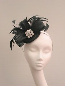 Black Sinamay Jewel Fascinator