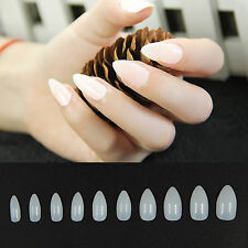600pcs Acrylic UV Gel Natural White Clear False Nail French Point Stiletto Tips