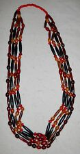 """NATIVE AMERICAN 4 STRAND, 41"""" NECKLACE, HAIRPIPE/RED/ART GLASS BEADS, STUNNING!"""