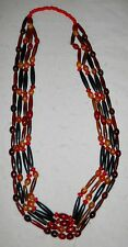 "NATIVE AMERICAN 4 STRAND, 41"" NECKLACE, HAIRPIPE/RED/ART GLASS BEADS, STUNNING!"