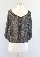 Joie Sheer Silk Floral Printed Button Front Cinched Hem Blouse Top Size S Black
