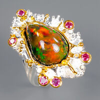 Black Opal Ring Silver 925 Sterling Special 6.50 ct AAAA+. Size 8.25 /R145126