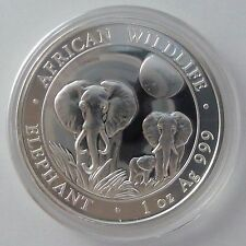 2014 Somalia Elephant 1 oz Troy Ounce .999 Silver Somalian Bullion Coin -