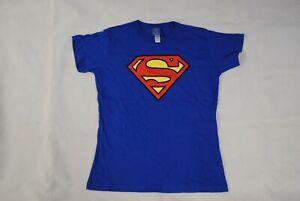 SUPERMAN CLASSIC LOGO BLUE LADIES SKINNY T SHIRT NEW OFFICIAL DC COMICS