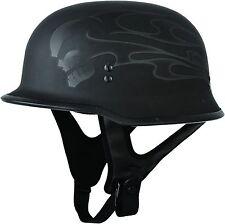 New Fly Racing 9MM Motorcycle Half Helmet Ghost Skull Matte Flat Black DOT