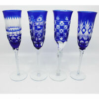 Four Cobalt Cut to Clear Champagne Glasses
