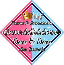 Nana & Grandad's Grandchildren On Board Car Sign
