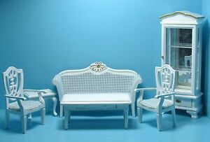 Dollhouse Miniature Complete Living Room Set in White & Blue with Curio ~ T0131