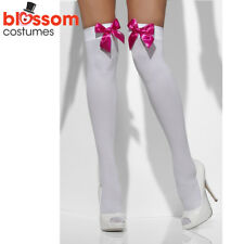 AC335 White with Pink Bows Opaque Tights Pantyhose Costume Halloween Stockings