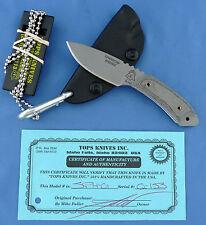 TOPS Sparrow Hawke Knife Black Linen Micarta Handle 1095 Carbon Steel USA Made