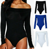 Women Ladies Bodysuit Stretch Leotard Long Sleeve Body Tops Jumpsuit T shirt HOT