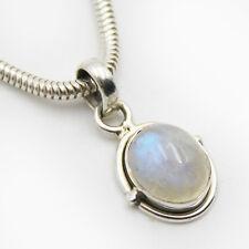 Ciondolo Pietra di luna argento 925 BLU BIANCO brillantescintillante da collana
