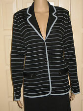 Exclusively Misook Sz M Black w/Light Blue Stripes and Trim Acrylic LS Jacket