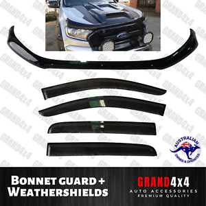 Bonnet Protector + Weathershields for Ford Ranger PX2 PX3 2015-2020 Dual Cab