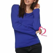 Women Soft Round Neck Long Sleeve Shirt Top Stretch Slim Fit Solid Tee Shirt