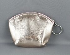 "Rose Gold Pink faux leather coin change zipper purse zip top keychain 4.5"" wide"