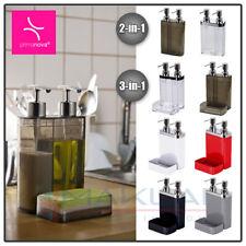 Modern Double Soap Lotion Dispenser Dish Sponge Holder Sink Hand Pump Bathroom