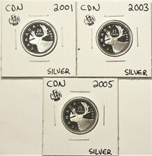2001 2003 2005 Canada 25 Cents Silver Proof Lot of 3 #7173