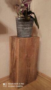 Podest Blumenständer Dekosäule, Massivholz Holzblock Eiche 26x16x50