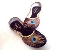 USA 6,7,8,9 mojri Peacock Shoes Velvet Design Indian Boho Bollywood Juti Womens