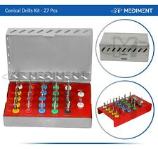 Dental Implant Conical Drills Kit 27 Pcs With Stoppers Surgical Tools