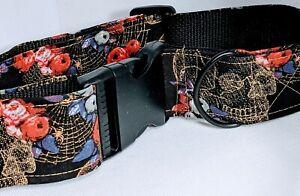 Gothic Snake Skull Spider Floral Handmade Dog Collar Large