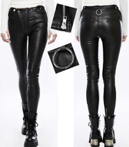Pantalon slim cuir gothique punk lolita biker anneau métal zippé mode Punkrave