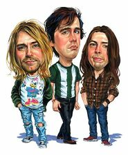 Nirvana Band Kurt Cobain Caricature Nevermind Grunge Metal Sticker or Magnet