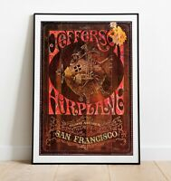 Vintage Concert Poster, Jefferson Airplane Poster, Wall Art, Rock Band Poster