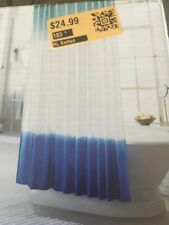 Threshold Dip Dye Shower Curtain Bright Blue / Teal & White NEW