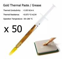 50 x High Quality Gold Thermal Transfer Heatsink Processor CPU Paste Grease Tube