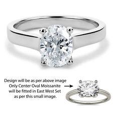 14K White Gold 3.7 CT White Oval Moissanite East West Set Engagement Ring