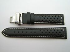 LANDERON LEATHER STRAP RACING WITH S.STEEL DEPLOYEMENT BUCKLE SIZE 20 (20mm)