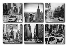 NEW YORK INSPIRED COASTERS - HIGH QUALITY - SET OF 6 - BLACK AND WHITE
