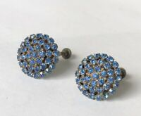 "Vintage Blue Rhinestone Gold Tone Round Clip On Earrings 0.75"" Diameter"