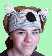 Koala Head Sweat Band 100% Wool Hand Knit Polyfleece Lining 48 cm Nepal