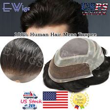 French Lace Front Men Toupee Fine Mono Hairpiece Poly Skin Hair System All Color