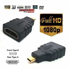 Calidad Superior HDMI a Micro HDMI tipo D Adaptador F/M Convertidor conecter HD TV Gold 4