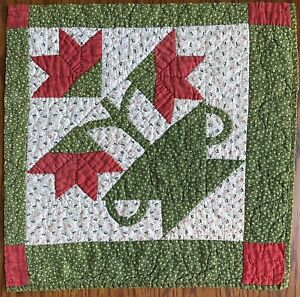 "Antique 1800's quilt Block ""Tulip In Vase"" Poison Green Red 19.5""X 20""Gorgeous"