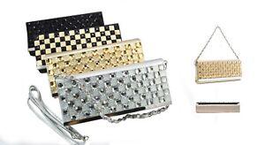 Gem Fold Over Snake skin Handbag Two Straps Silver Black Gold Party Bling