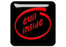 """Evil Inside 1""""x1"""" Chrome Domed Case Badge / Sticker Logo"""