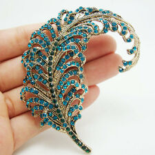 Brooch Pin Blue Rhinestone Crystal New Vintage Style Peacock Feathers Gold-tone