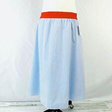 NEW LuLaRoe LOLA Skirt Sz Large Blue White Stripe HTF 100% Cotton