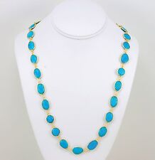 Blue Turquoise Necklace Large Bezel Set Oval 14k Gold Fill  24 Inch Chain