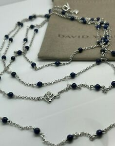 "David Yurman Silver Collectibles DY Station Lapis Lazuli Bead Chain 60"""